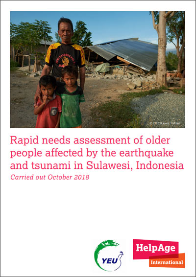 of older people affected by the earthquake and tsunami in Sulawesi, Indonesia
